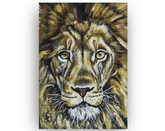 Majestic Lion Painting on Canvas Board | Wildlife Art by L.E. Holmes