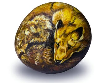 Red Fox Painted on Stone   Rock Painting Art