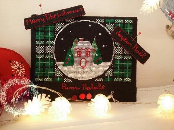 Buon Natale 118.Buon Natale Merry Christmas Joyeux Noel Schema Punto Croce Formato Cartaceo