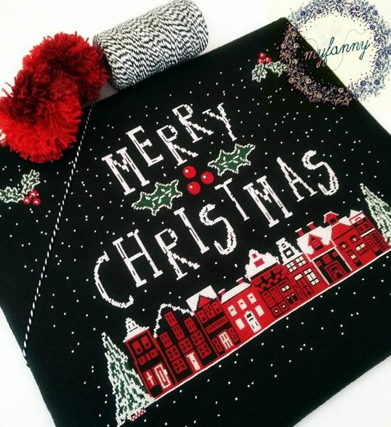 frohe weihnachten cross stitch muster papier oder pdf etsy. Black Bedroom Furniture Sets. Home Design Ideas