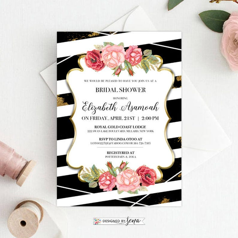 Custom Bridal Shower Invitation Party Invitation Bride To Be Shabby Chic Design Black White Stripes Pink Bridal Party Invitation Card