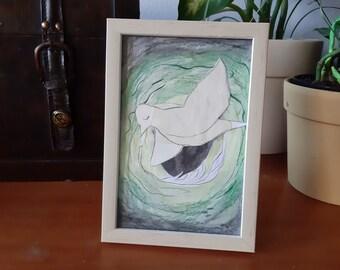 Nesteling - framed original collage
