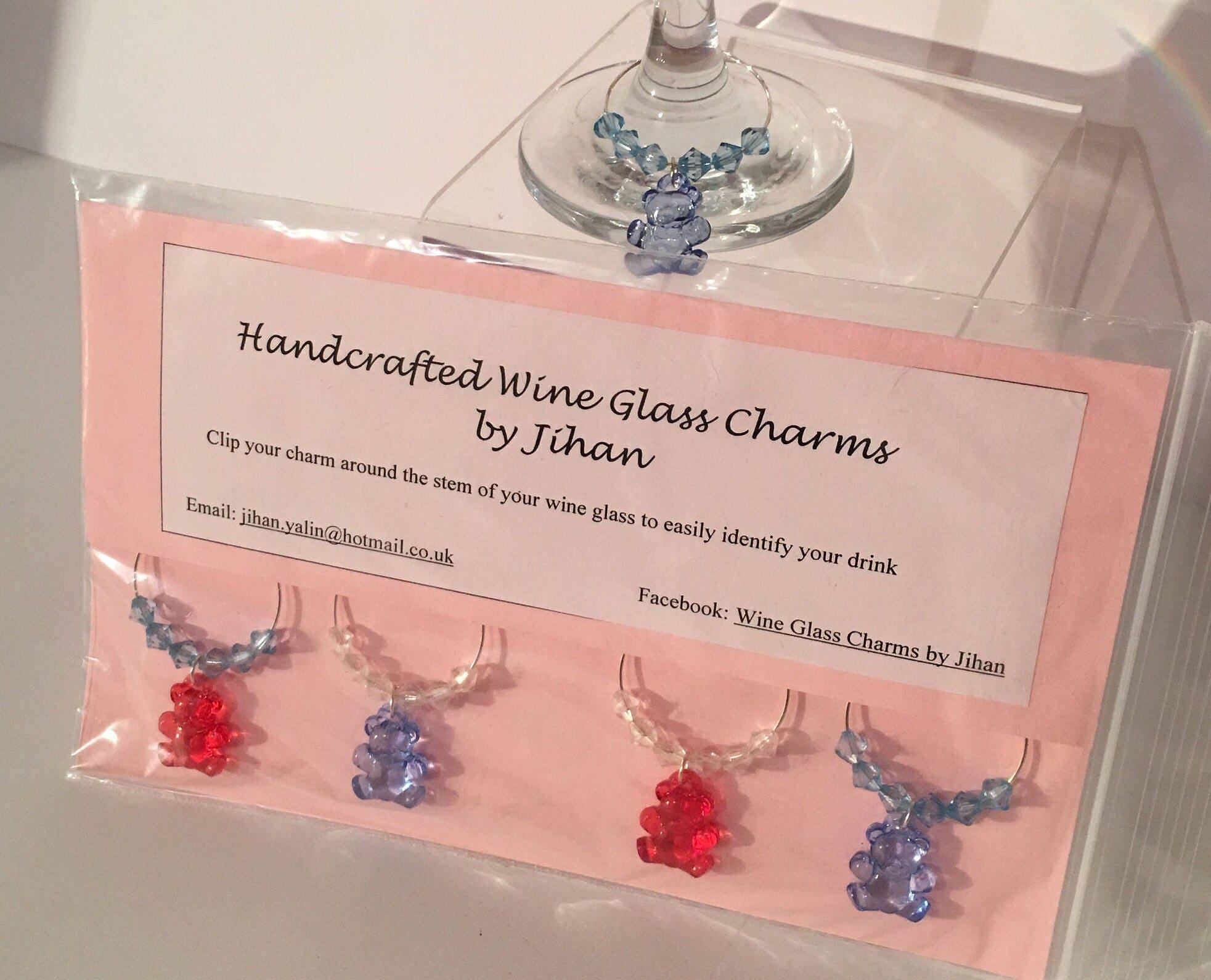 Set of 4 Gummy Bear Wine Glass Charms