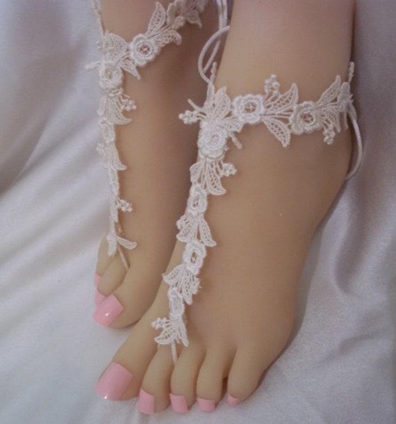 efe761d4525ce Ivory Small Flower Barefoot Sandals Ivory White Beach Bride