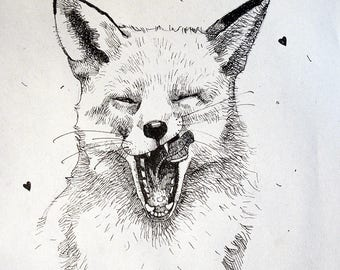 illustration with a Fox original print on the wall, drawings with a black gel pen