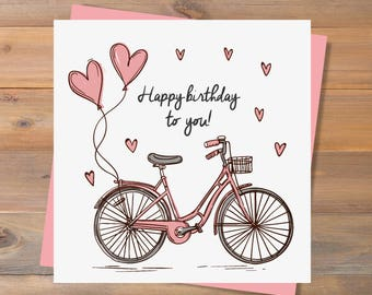 instant download printable birthday card happy birthday to you bicycle birthday card cute birthday card birthday card girlfriend