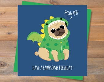 instant download have a rawrsome birthday printable birthday card pug birthday card dinosaur birthday card animal card funny cute card