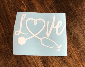 Love nurse decal, RN decal, stethoscope decal, nursing school decal,Gift for her, gifts under 10, yeti decal, laptop decal, car decal,
