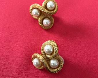 Vintage Faux Pearl and Triple Twisted Rope Clip Earrings