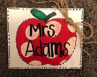 Apple sign - teacher sign - teacher name sign - polka dot sign- teacher gift - custom name gift- teacher name plate- custom teacher gifts