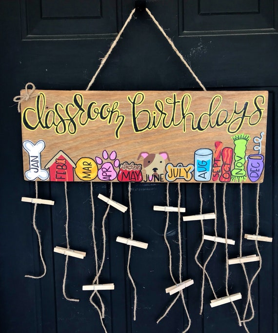 Classroom Dog Theme Birthday Sign