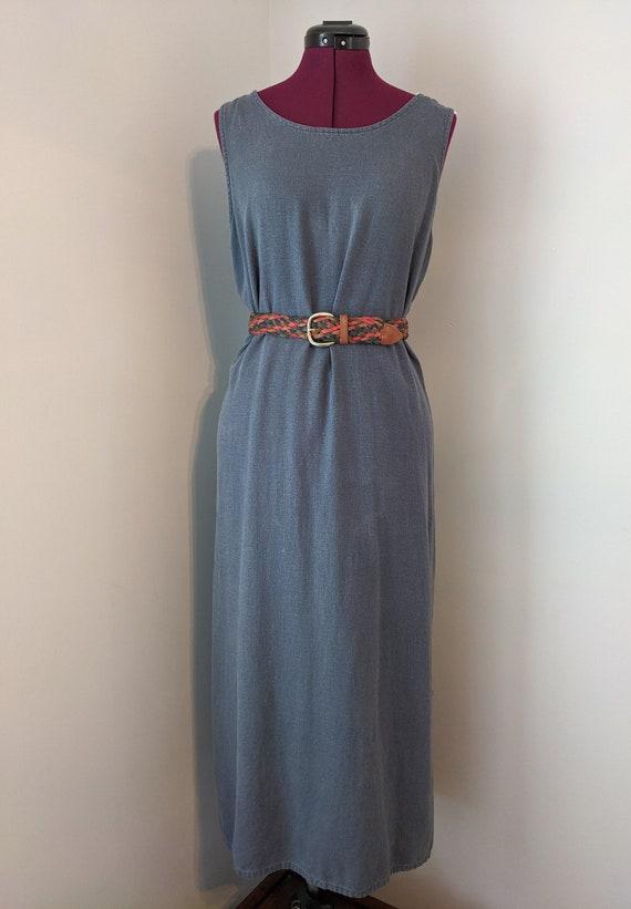 Minimalist Blue Linen Dress