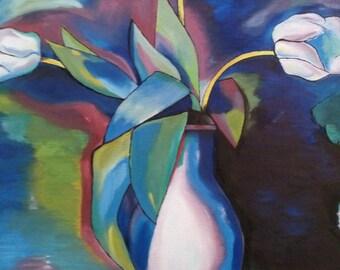 Three White Tulips Imitation