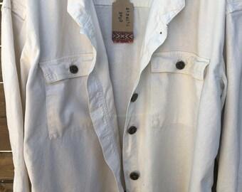 Slouchy womens linen jacket, cream short jacket, oversized jacet for all seasons, oversized cream color shirt