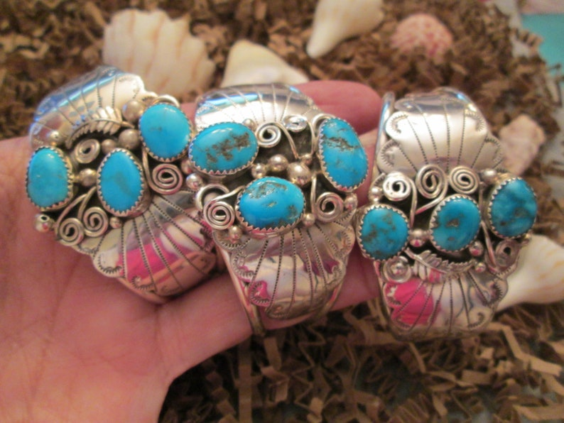 BLOWOUT SALE Navajo Sterling /& Genuine KINGMAN Turquoise CuffVivid Blue Stones 3 Styles to choose fromsigned JNB079