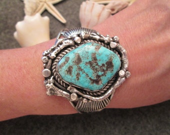 Rustic Large Navajo Old Pawn Sterling and Genuine KINGMAN Turquoise Cuff> Luscious Vivid Blue Stone> Unisex -JNB081