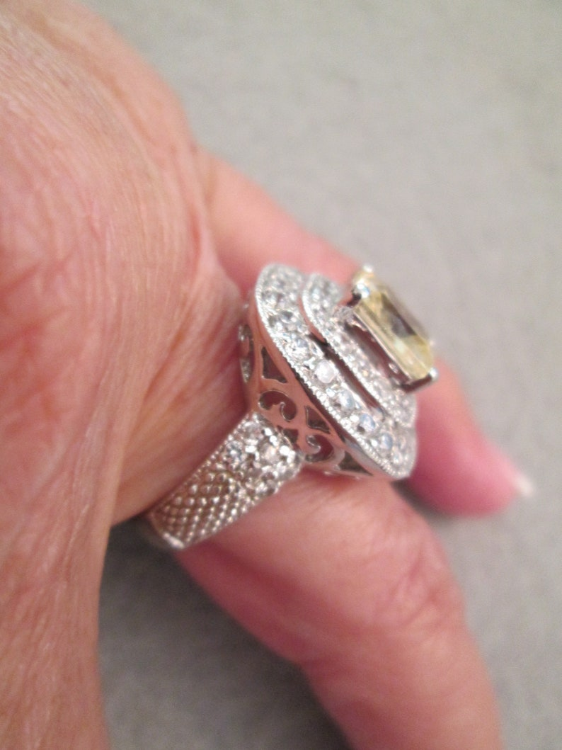 Stunning Sterling /& faux Canary Diamond and Cubic Zirconia Ring Engagement or Cocktail Exquisite Halo Design size 8