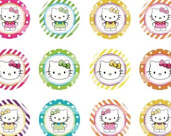 Hello Kitty Summer 1 inch Circles Digital Collage Sheet