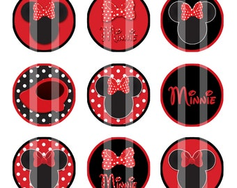 Minnie Mouse Red & Black 1 inch Circles 4x6 Digital Collage Sheet