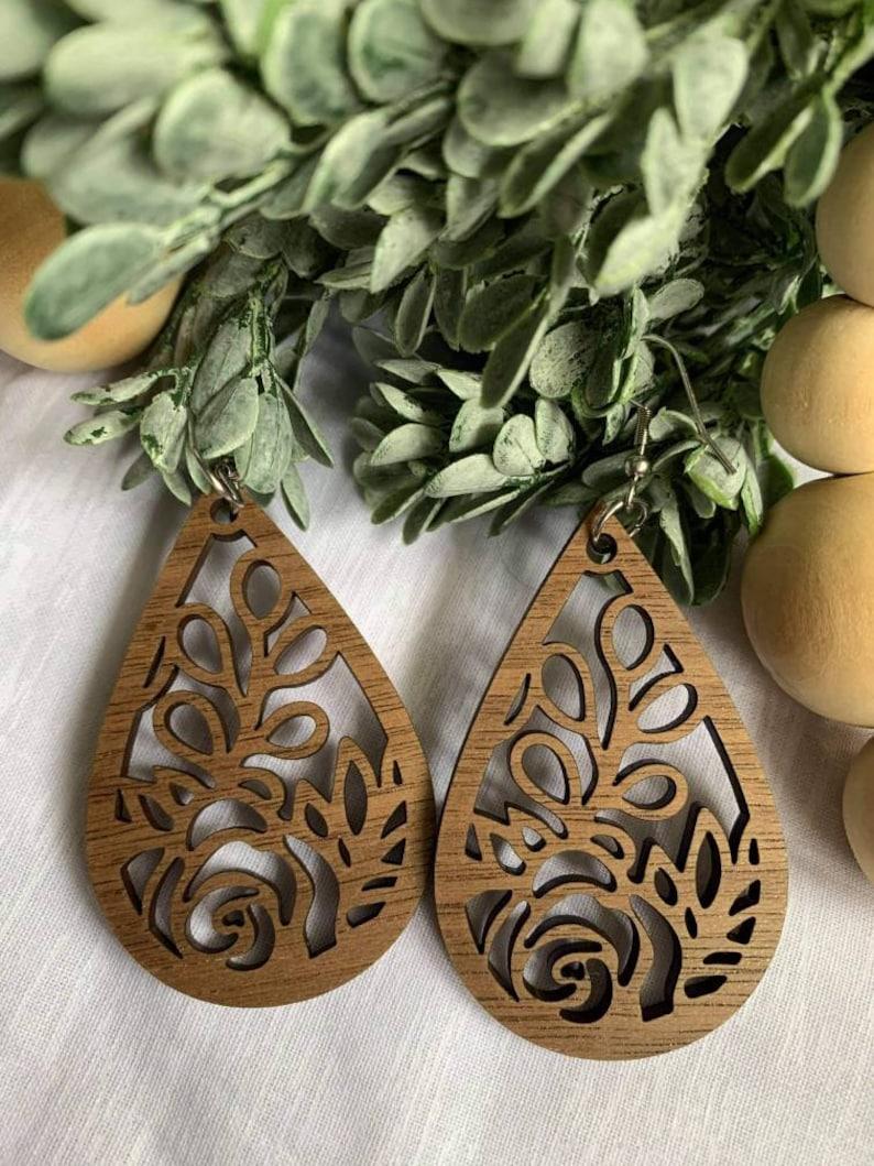 Brown Wooden Earrings  Lightweight Earrings  Brown Design  Hypoallergenic Stainless Steel Earrings Hooks  Sensitive Ears
