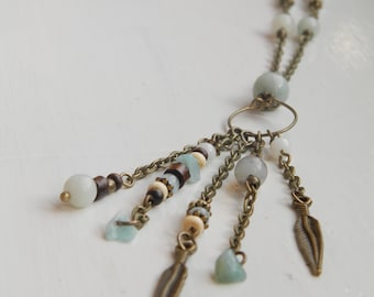 Bohemian Amazonite Necklace, Feather Charm Boho Jewellery, Tassel Style Woman's Necklace
