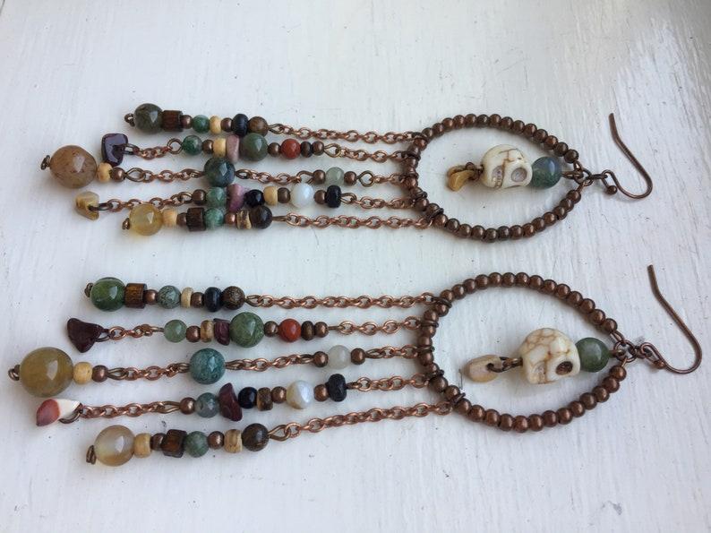 Multi Gemstones Earring Bohemian Skull Earrings Boho Chandelier Earrings with Gemstones