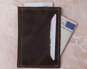 Slim Card Holder, Leather Card Holder, Leather Wallet, Card Holder, Card Holder Wallet, Man Wallet, Card Holder, Wallet, Slim Wallet-SAND