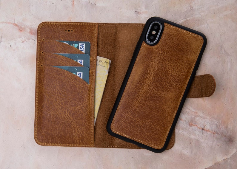 pretty nice 44b26 880b8 iPhone X Case Magnet Wallet, iPhone X Case, iPhone X Wallet, iPhone X  Wallet Case, iPhone X Leather Detachable Case-TAN