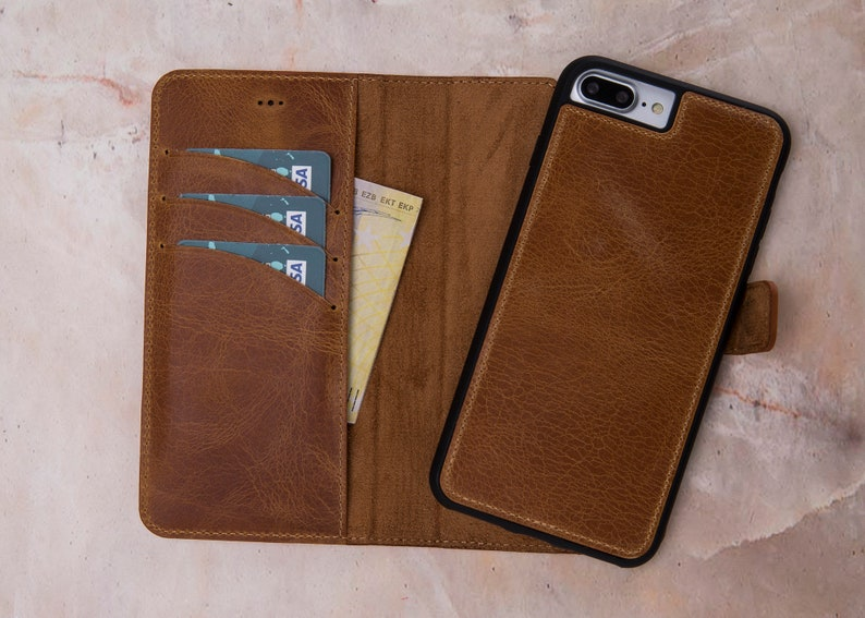 innovative design b904c 56914 iPhone 8 Plus Magnet Wallet Case, iPhone 8 Plus Detachable Wallet Case,  Leather iPhone 8 Plus Case, iPhone 8 Plus Leather Case-TAN