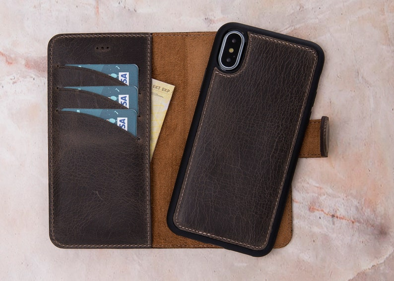 check out 6638d 07a4c iPhone X Case Magnet Wallet, iPhone X Wallet Case, iPhone X Case Wallet,  iPhone X Leather Detachable Case, Leather iPhone X Case-SAND