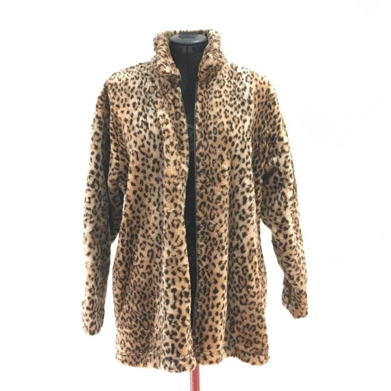 Leopard print fur coat / jacket