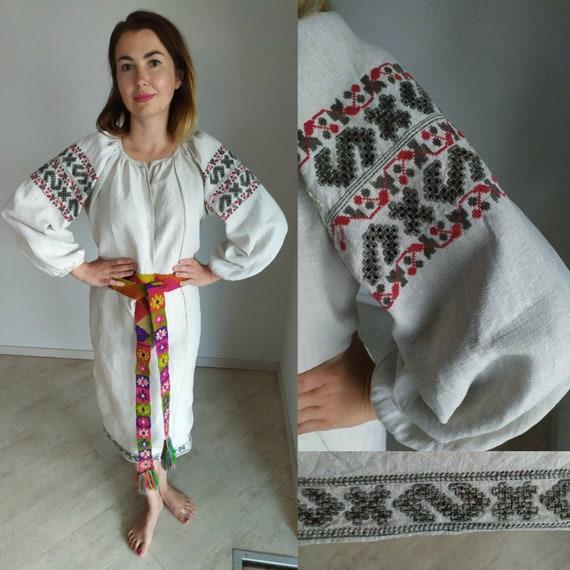 Naturaldying!Vintage  Dress Vyshyvanka Homespun Li