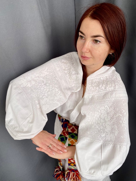 Lace dress Linen dress Antique smock Embroidered … - image 7