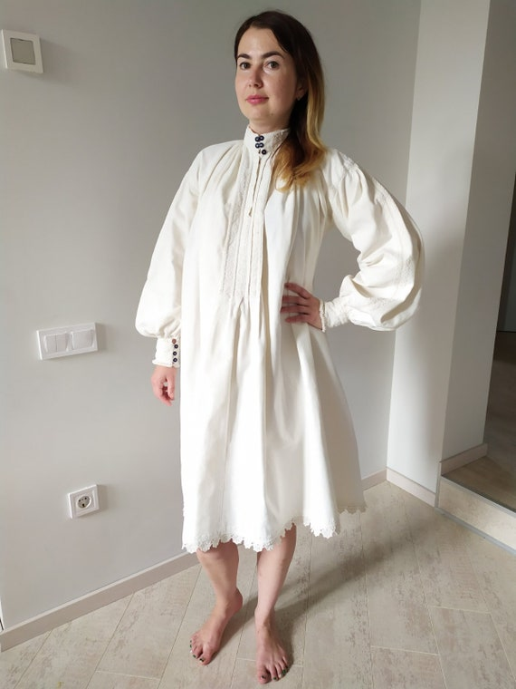 Big Big Sleeves  Pure Linen Dress Jewelry  work Co