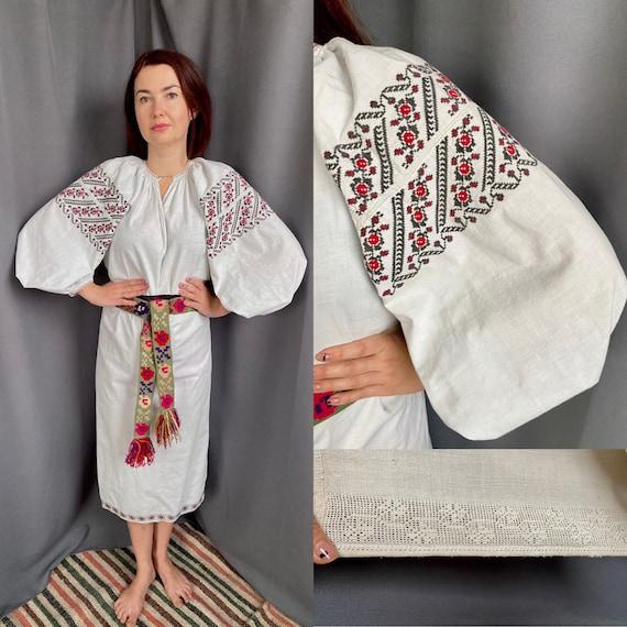 Ukrainian dress Rustic style Embroidered dress Lin