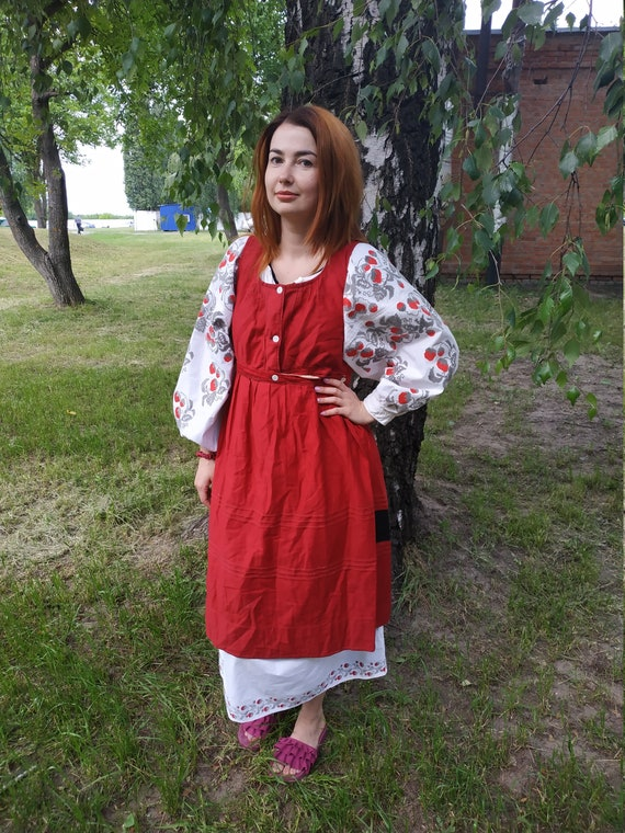 Vintage Ukrainian sarafan Antique clothes Ukrainia