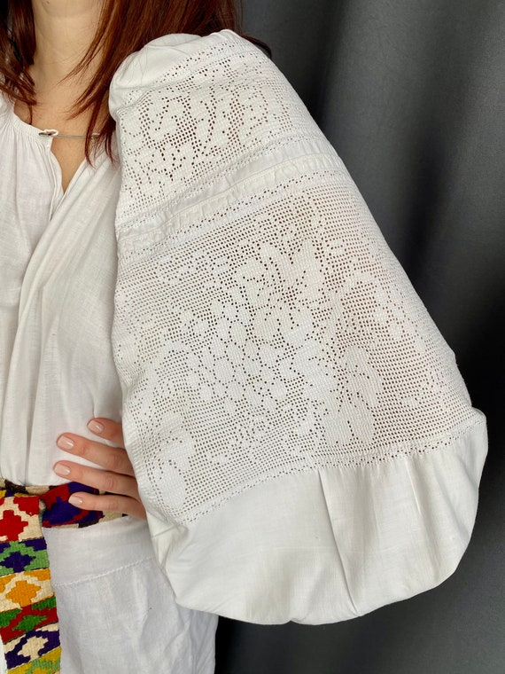 Lace dress Linen dress Antique smock Embroidered … - image 8