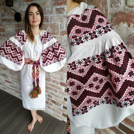 Expressive Brown Big Big Sleeves Embroidered dress