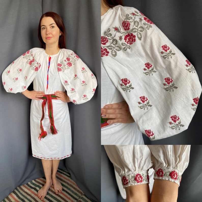 Embroidered dress Ukraine embroidery Cross stitch Floral design Boho style
