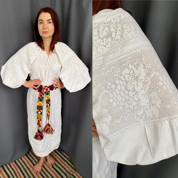 Lace dress Linen dress Antique smock Embroidered … - image 1