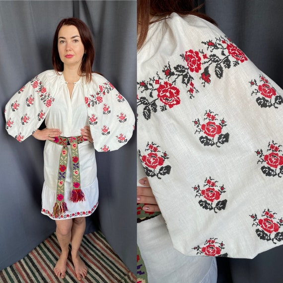Linen dress ! Ukrainian embroidery Antique clothin