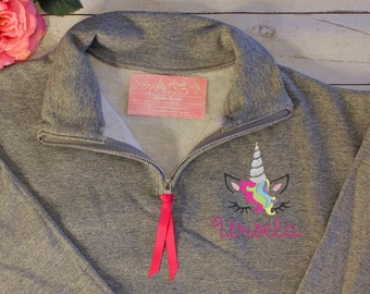 74585d7b59e81 Unicorn Quarter Zip Sweatshirt with Name in Cursive | Pullover Sweater with  name | Rainbow Shirt for Gay / Lesbian / Bisexual Pride Week
