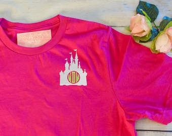 Disney Castle Monogram Short Sleeve T-Shirt | Custom Embroidered Monogrammed Tee for Disney World / Land Trip / Family Vacation