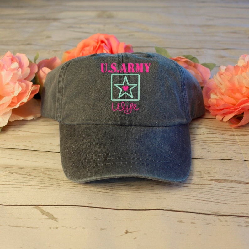 597c36c4db1 Distressed Embroidered Army Logo Hat Mom / Wife / Girlfriend   Etsy