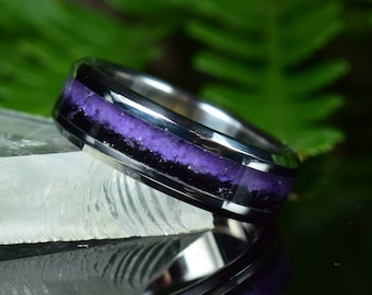 Wedding Ring, Stainless Steel ring with crushed Amethyst and Black Tourmaline Inlay