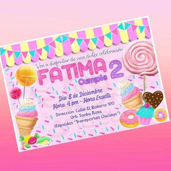 Tarjeta De Invitacion Dulces Invitation Candy