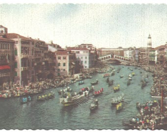 "Venice Italy  ""Regattas on the Grand Canal - Gondolas - Vintage Postcard"