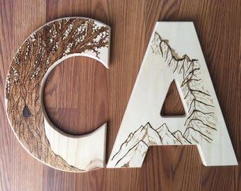 """Custom Wood Burned 12"""" Letter"""