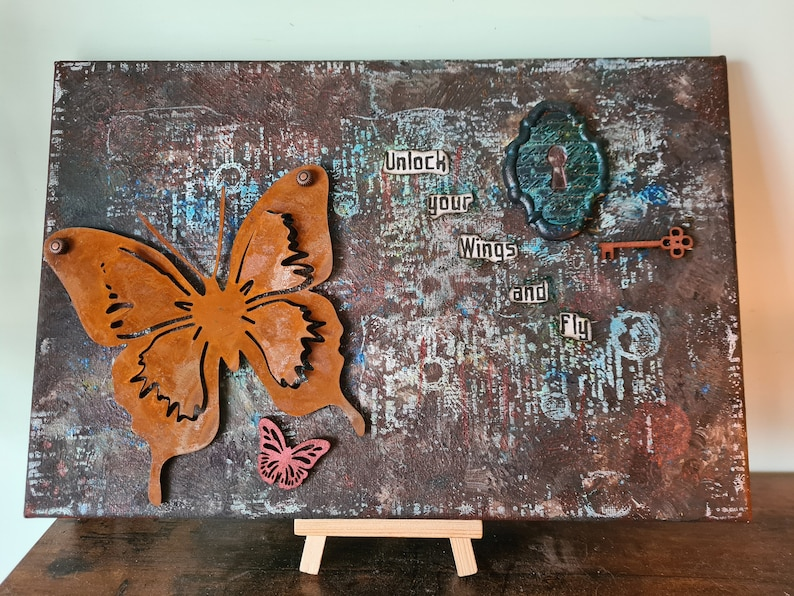 Mixed Media Canvas SOLD   Unlock your wings