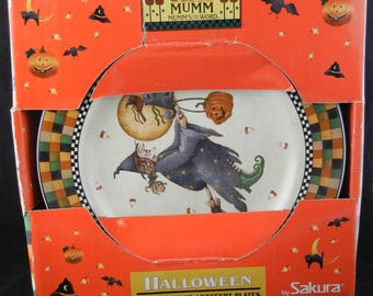 "Sakura Debbie Mumm Halloween Set of 4 8"" Salad / Dessert Plates 1998 New"